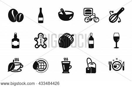 Vector Set Of Mint Tea, Gingerbread Man And Whiskey Bottle Icons Simple Set. Latte, World Water And