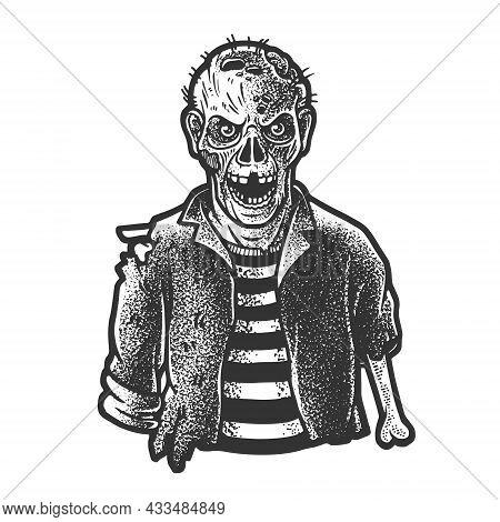 Zombie Sketch Engraving Vector Illustration. T-shirt Apparel Print Design. Scratch Board Imitation.