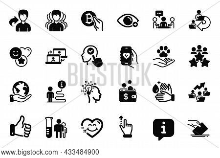Vector Set Of People Icons Related To Business Meeting, Outsource Work And Pets Care Icons. Like Han