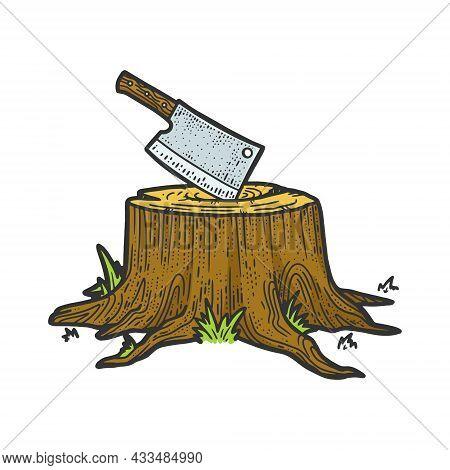 Kitchen Cleaver Hatchet Knife Stuck In Tree Stump Color Sketch Engraving Vector Illustration. T-shir