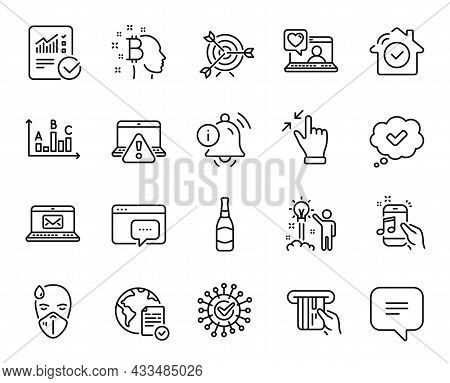 Vector Set Of Credit Card, Seo Message And Target Line Icons Set. Online Voting, E-mail And Music Ph