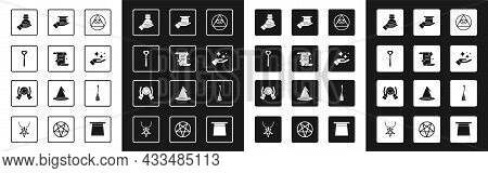 Set Masons, Ancient Magic Book, Magic Wand, Bottle With Potion, Sparkle Stars Trick, Magician Hat In