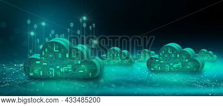 Cloud Computing Technology Internet On Data Network With Technology Background. Cloud Service, Cloud
