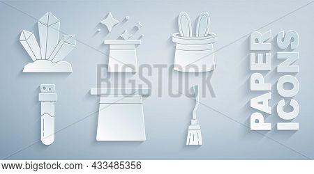 Set Magic Hat, Magician And Rabbit Ears, Bottle With Potion, Witches Broom, And Stone Icon. Vector