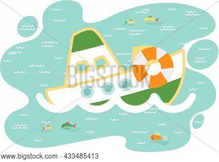 Funny Ship In Cartoon Style, Pleasure Boat. Vessel Sailing In Waves In Blue Sea Flat Vector. Sea Voy