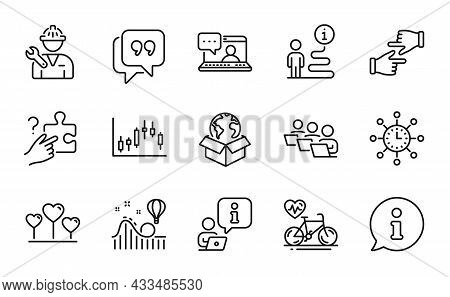 Business Icons Set. Included Icon As Teamwork, Friends Chat, Cardio Bike Signs. Search Puzzle, Candl