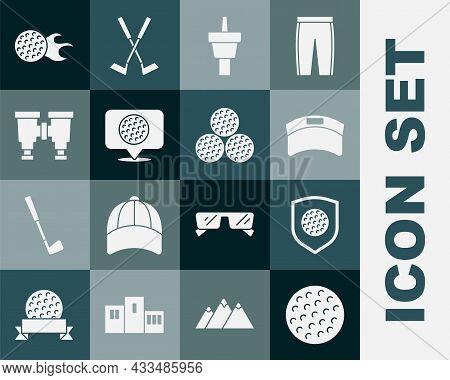 Set Golf Ball, With Shield, Sun Visor Cap, Tee, Label, Binoculars, And Icon. Vector