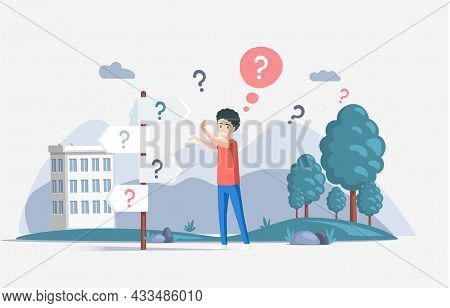 Making Confusion. Doubts Person Surrounded By Question Marks. Questions Dilemma Situations. Asking Q