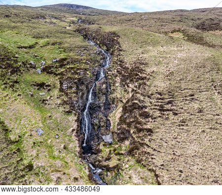 Aerial View Of A Waterfall In The Mountains Near Crolly In County Donegal - Ireland