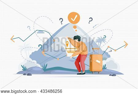 Making Confusion Choice Of Path. Man Thought About Solution To Problem Choose Options Person Concept