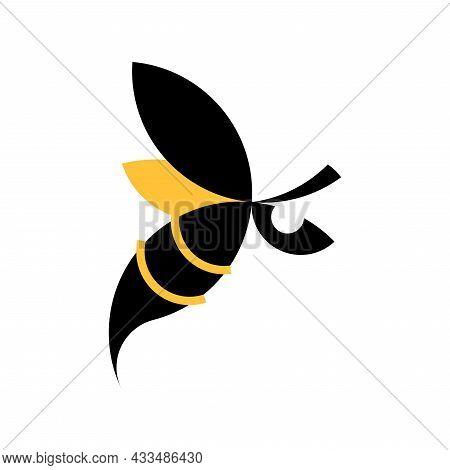 Vector Bee In Golden Ratio Style. Editable Illustration