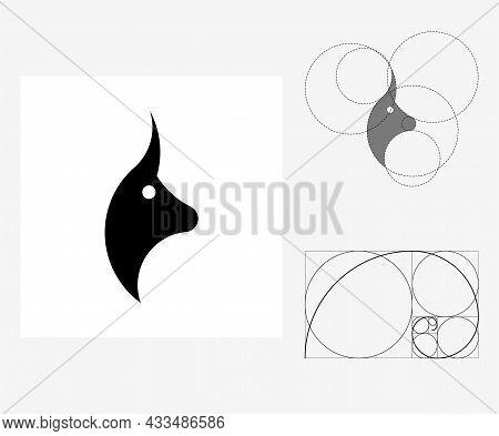 Vector Bull In Golden Ratio Style. Editable Illustration