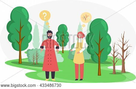 Pensive Couple Walking Outdoor In Park, People Ponder Looking For Answer To Question. Cartoon Confus