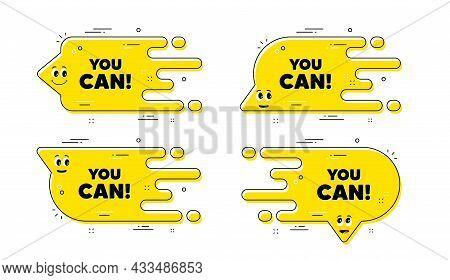 You Can Motivation Message. Cartoon Face Transition Chat Bubble. Motivational Slogan. Inspiration Ph