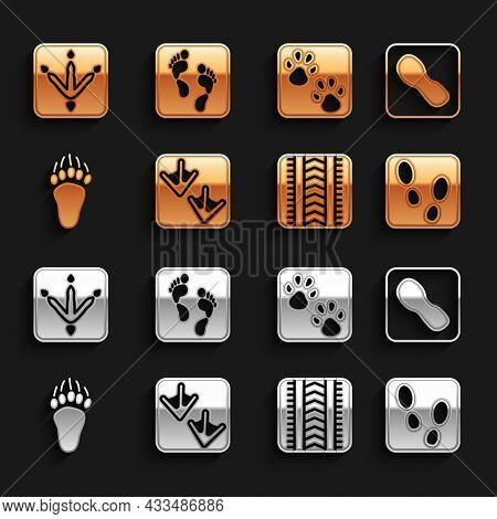 Set Goose Paw Footprint, Human Footprints Shoes, Tire Track, Bear, Paw, Chicken And Icon. Vector