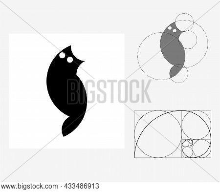 Vector Cat In Golden Ratio Style. Editable Illustration