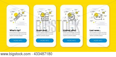 Vector Set Of Escalator, Check Article And Gift Box Line Icons Set. Ui Phone App Screens With Line I
