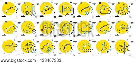 Weather And Forecast Line Icons. Cloudy Sky, Winter Snowflake, Thermometer. Moon Night, Rain And Sun
