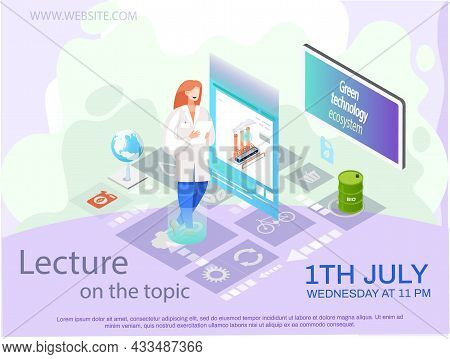 Woman Is Analysing Trash Recycling Factory On Poster Isometric Illustration. Innovative Technologies