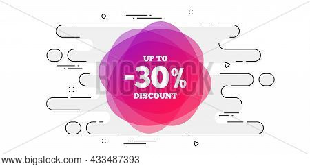 Up To 30 Percent Discount Off Banner. Geometric Ad Banner On Flow Pattern. Sale Sticker Shape. Coupo