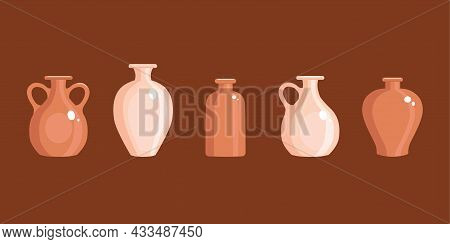 Clay Vases Set In A Flat Style. Antique Jug. Vector Illustration.