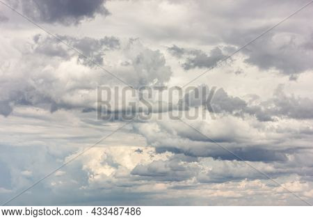An Overcast Sky On A Windy Day. Expecting A Storm, Bad Weather. Beautiful Photo.