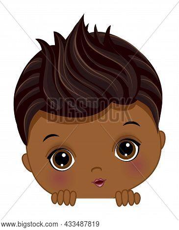 Cute Little African American Baby Boy Playing Peek A Boo. Black Boy Is Cute. Peekaboo African Americ