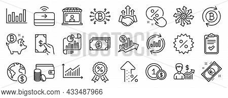 Set Of Finance Icons, Such As Checklist, Usd Coins, Payment Method Icons. Receive Money, Bitcoin Coi