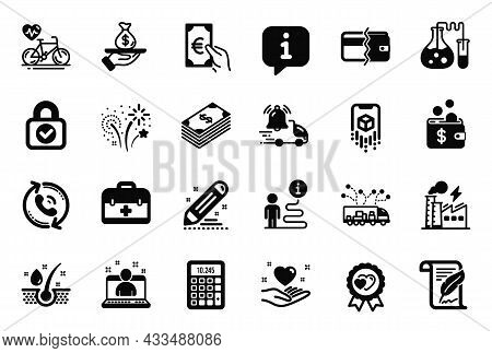 Vector Set Of Business Icons Related To Calculator, Call Center And Cardio Bike Icons. Loan, Serum O