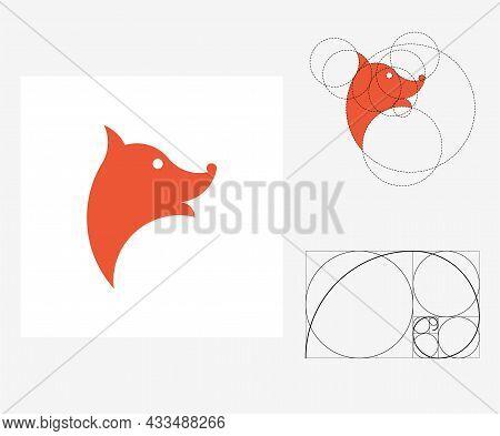 Vector Fox In Golden Ratio Style. Editable Illustration