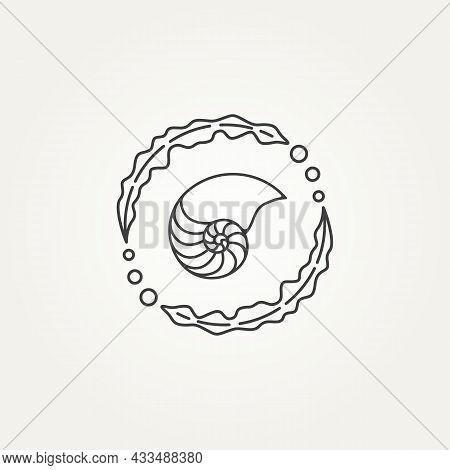 Isolated Nautilus And Seaweed Circle Minimalist Line Art Badge Logo Icon Template Vector Illustratio