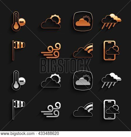 Set Windy Weather, Cloud With Rain, Weather Forecast, Rainbow Clouds, Cone Windsock Wind Vane, Meteo