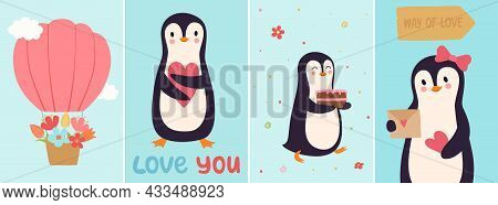 Penguin Cards. Cute Cartoon Penguins In Love, Birthday Celebration Banners. Hot Air Balloon In Cloud