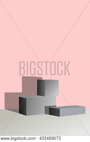 Minimalist Abstract Background. Three-dimensional Geometric Shapes In Gray On A Yellow Background. M