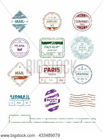 Grunge Stamp. Postal Round Frames Pattern Blank Stripped Lines For Stamps Garish Vector Templates