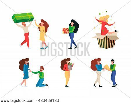 Gift Give. Meeting People With Gift Packages Persons Festive Hugging Products Young Received Present