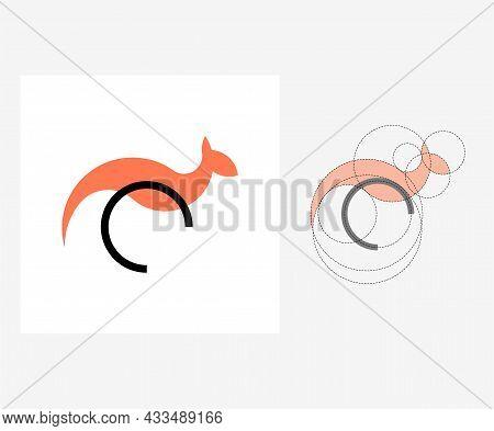 Vector Kangaroo In Golden Ratio Style. Editable Illustration
