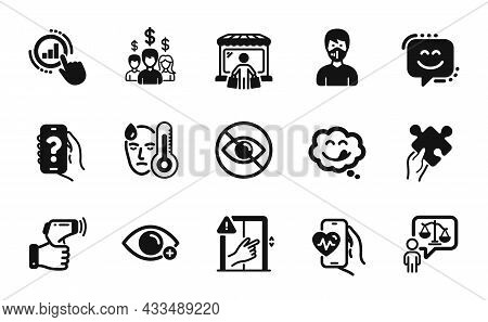 Vector Set Of Electronic Thermometer, Puzzle And Medical Mask Icons Simple Set. Yummy Smile, Not Loo
