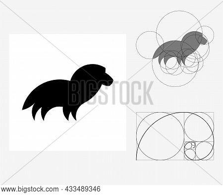 Vector Lion In Golden Ratio Style. Editable Illustration