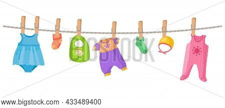Baby Clothes On Rope. Cute Children Dress And Socks, Isolated Childish Accessories Vector Set