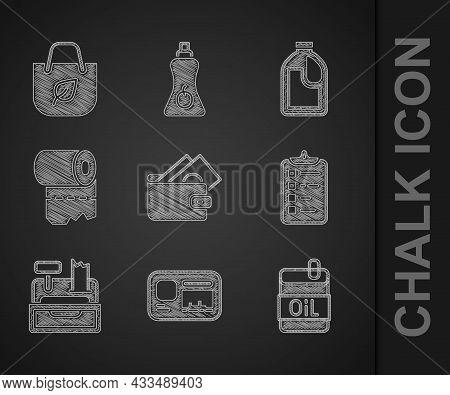 Set Wallet With Money, Identification Badge, Bottle Of Olive Oil, Shopping List, Cash Register Machi