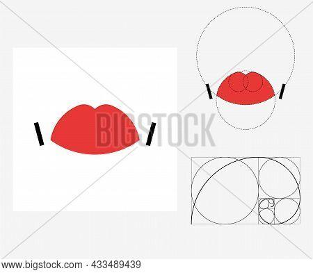 Vector Lips In Golden Ratio Style. Editable Illustration