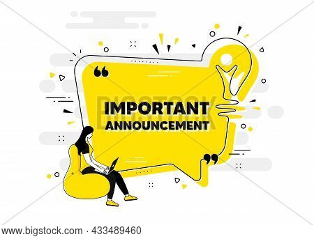 Important Announcement Text. Idea Chat Bubble Banner With Person. Special Offer Sign. Advertising Di