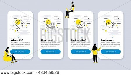 Vector Set Of Technology Icons Related To Web Call, Checkbox And Strategy Icons. Ui Phone App Screen