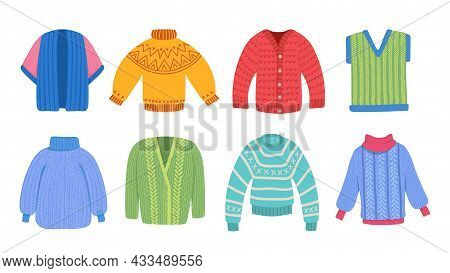 Warm Sweaters. Winter Clothes, Knitted Sweater And Cardigan. Holiday Cloth Vector Collection