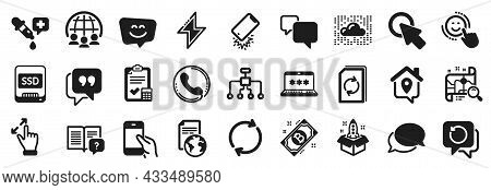 Set Of Technology Icons, Such As Work Home, Update Document, Translation Service Icons. Restructurin