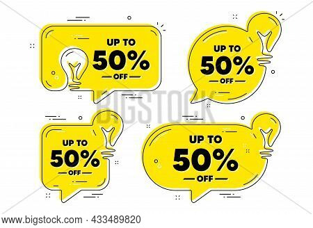 Up To 50 Percent Off Sale. Idea Yellow Chat Bubbles. Discount Offer Price Sign. Special Offer Symbol