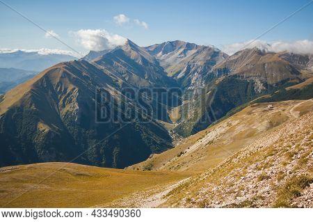 Amazing View Of Foce Di Montemonaco And Monte Vettore From The Peak Of Sibilla, Marche, Italy