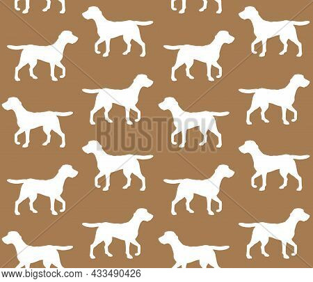 Vector Seamless Pattern Of Hand Drawn Beagle Dog Silhouette Isolated On Brown Background
