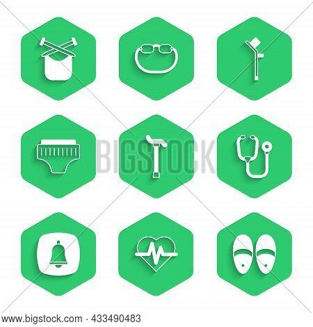 Set Walking Stick Cane, Heart Rate, Slippers, Stethoscope, Emergency Phone Call, Adult Diaper, Crutc